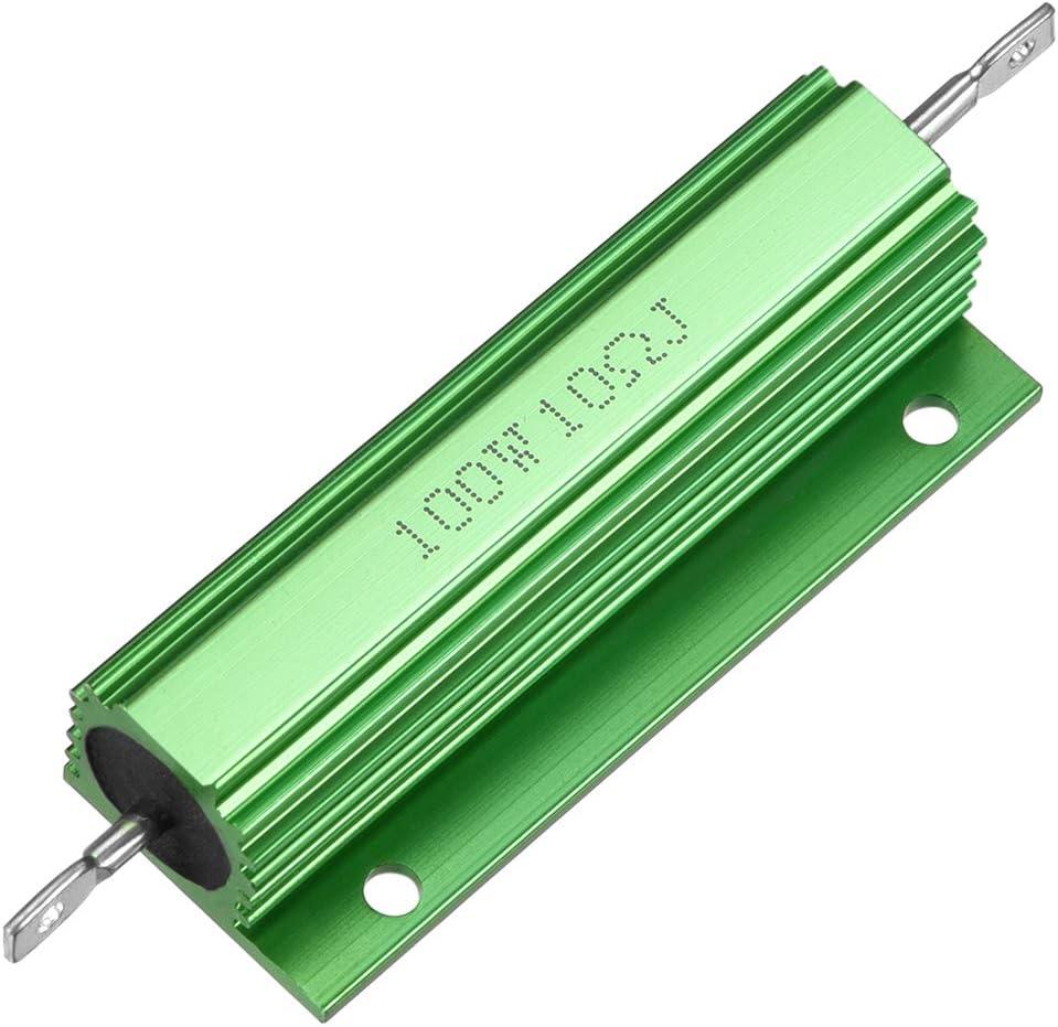 Sourcingmap - Resistor de carcasa de aluminio (100 W, 10 Ohm, para convertidor LED de repuesto, 100 W, 10 RJ), color verde