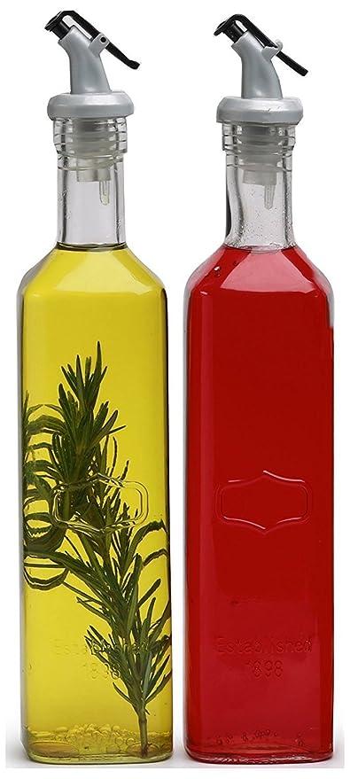 Familia cristal Yorkshire dispensador de aceite de oliva y vinagre cristal transparente botellas, 19,