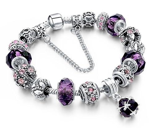 2bcc0ec75420 Charmes de joyas, Pulsera perlas de Cristal de Murano con cristales ...