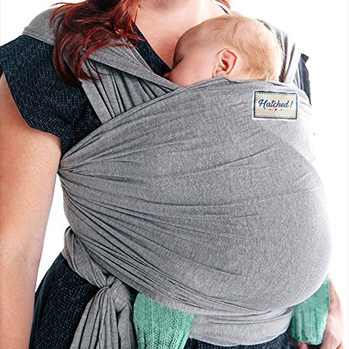 Hatched! Soft Breathable Natural Cotton Baby Sling Wrap Carrier - Soft & Comfortable - Lightweight Carrier Suitable for Infants - Breast Feeding Cover (Grey)