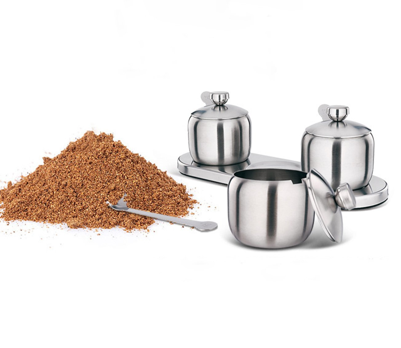 Tenta Kitchen 18/8 Stainless Steel Seasoning Containers Set Spice Jar Spice Rack Condiment Cruet Bottle Salt Pepper Sugar Storage Organizers with 3 Serving Spoons And Non-slip Base
