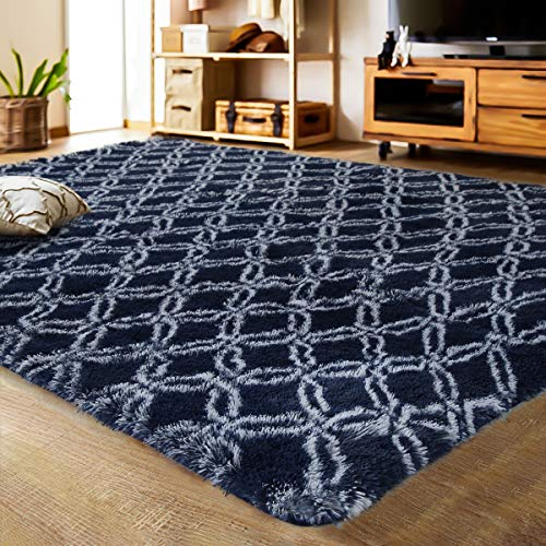 LOCHAS Luxury Velvet Shag Area Rug Mordern Indoor Plush Fluffy Rugs, Extra Soft and Comfy Carpet, Geometric Moroccan Rugs for Bedroom Living Room Girls Kids Nursery (5x8 Feet, Dark Blue/White, HS8) (Large Room For Rugs Living)