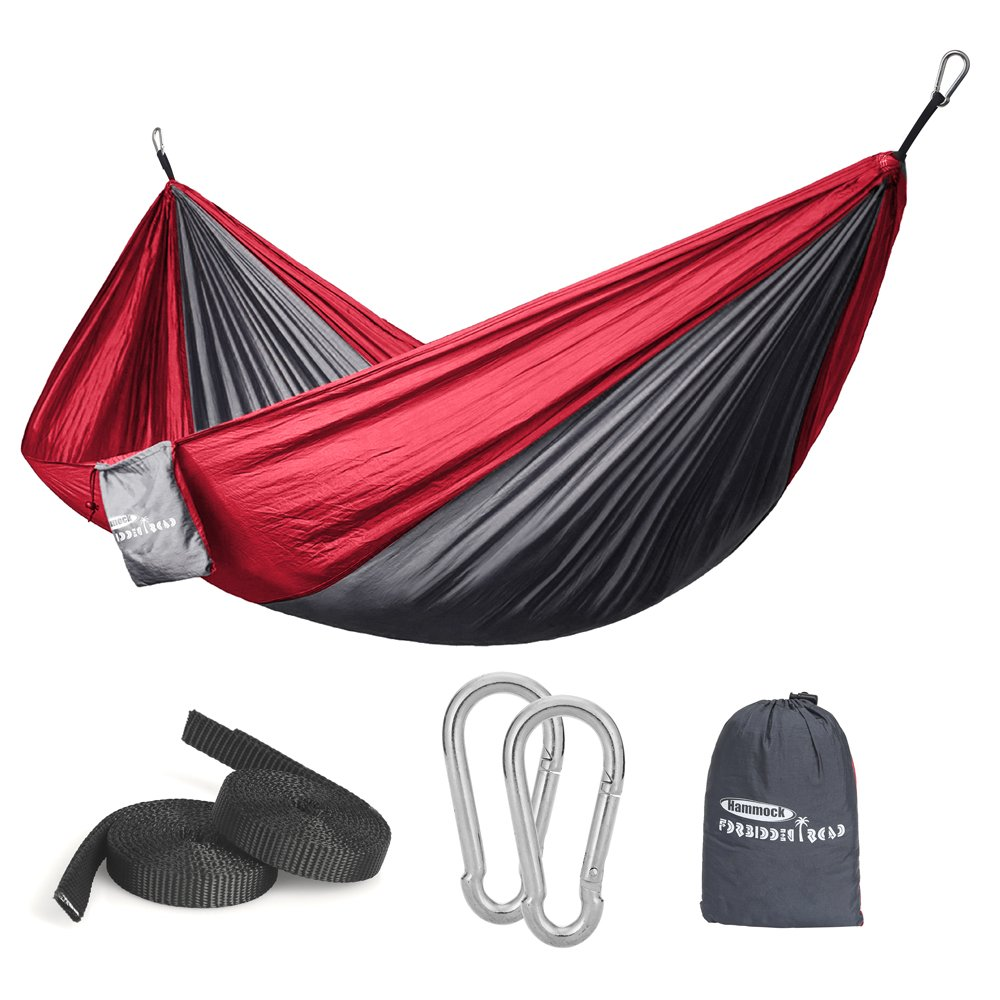 Forbidden Road Hammock Single Double Camping Portable Parachute Hammock for Outdoor Hiking Travel Backpacking – 210D Nylon Taffeta Hammock Swing Grey Red