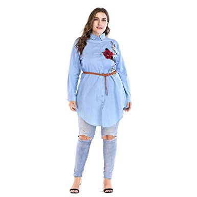afcecc42ab41 Image Unavailable. Image not available for. Color  Women Fashion Plus Size  Turn-Down Collar Long Sleeve Casual Embroidery Dress