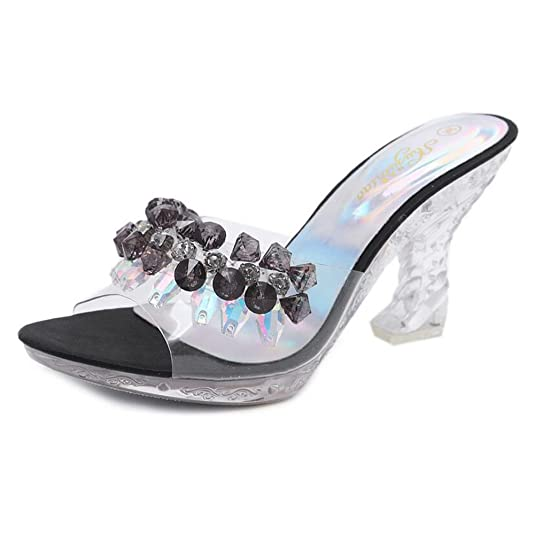 HUAN Femmes Chaussures PVC D'été Automne Club Chaussures Light Up Chaussures Talons Talon Stiletto Talon de Cristal Translucide Talon Cristal Talon pour Fête (Couleur : C, Taille : 36)