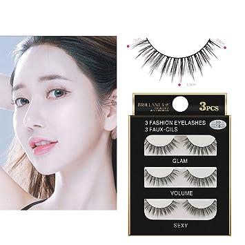 ec8521097d0 Amazon.com : TrimakeShop 3 Pairs 3D Long False Eyelashes Makeup Natural Fake  Thick Black Eye Lashes : Beauty