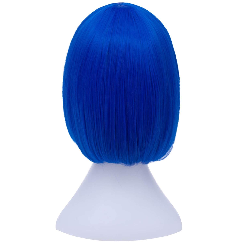 Bopocoko Short Blue Bob Hair Wigs Straight Cosplay Wig with Bangs for Women Girls 11 Inch BU29BL
