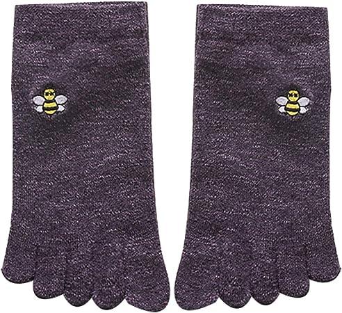 YuanLife Cinco Dedos Calcetines de algodón de Las Mujeres de Split Calcetines del Dedo del Dedo del pie sólido Retro Calcetines Paquete de 5 (Color : 5 Pack): Amazon.es: Hogar