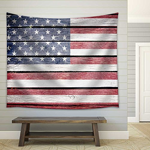 Usa American Flag Painted on Old Wood Plank Background Fabric Wall