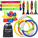 Fayoo 23 Pack Underwater Swimming/Diving Pool Toy Rings(4 Pcs), Toypedo Bandits(4 Pcs), Diving Sticks(3 Pcs) with Under Water Treasures (12 Pcs) Gift Set Bundle, Ages 3+