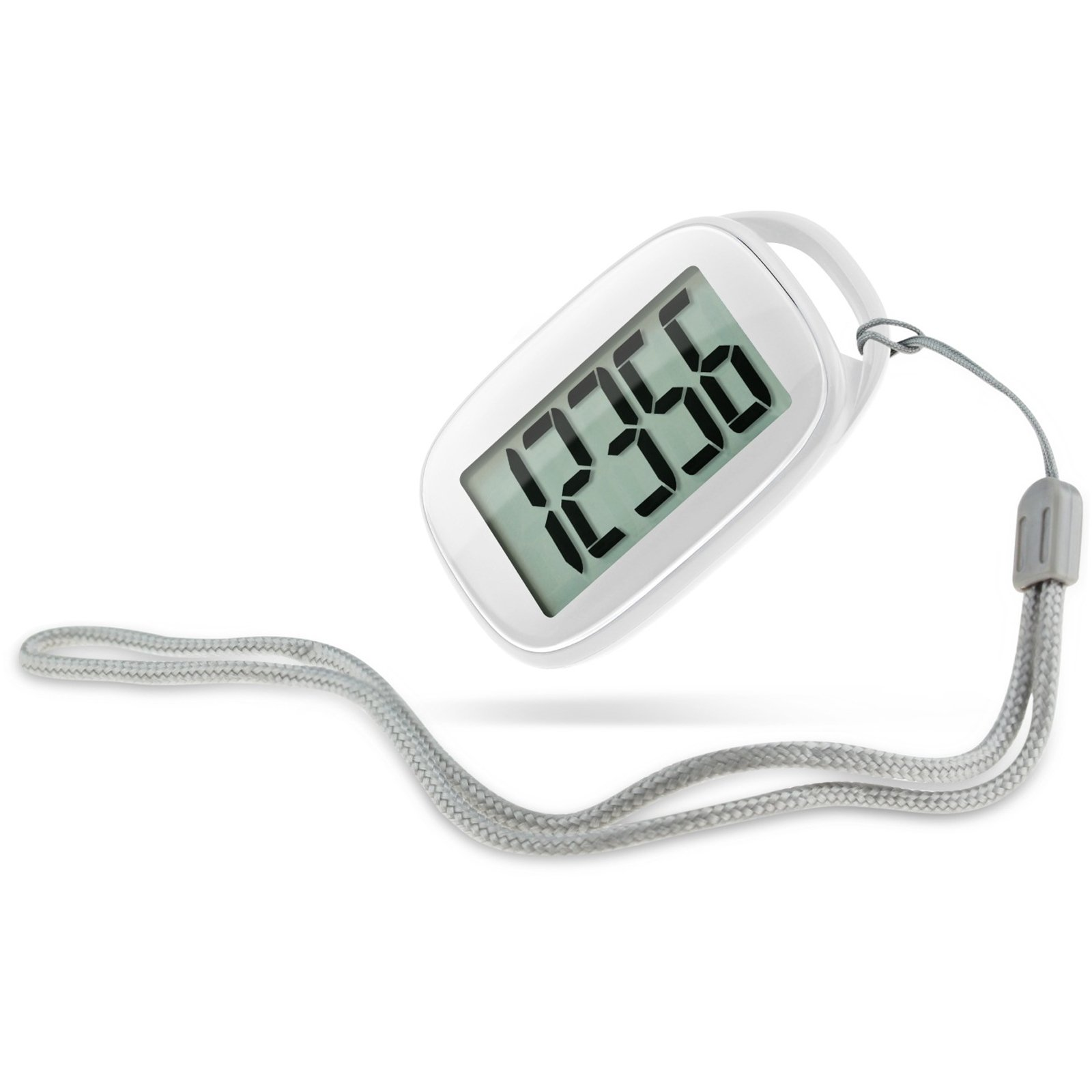 DULEE Extra Big Screen Display Digits 3D Sensor Pedometer Step Counter Outdoor Walking Professional Electronic Pedometer,White