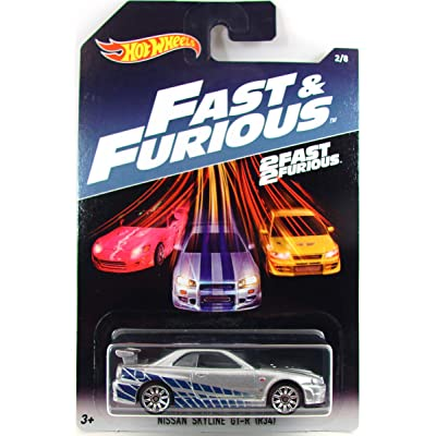 Hot Wheels Mattel Fast & Furious 2/8: Nissan Skyline GT-R (R34) - Silver (2Fast2Furious): Toys & Games
