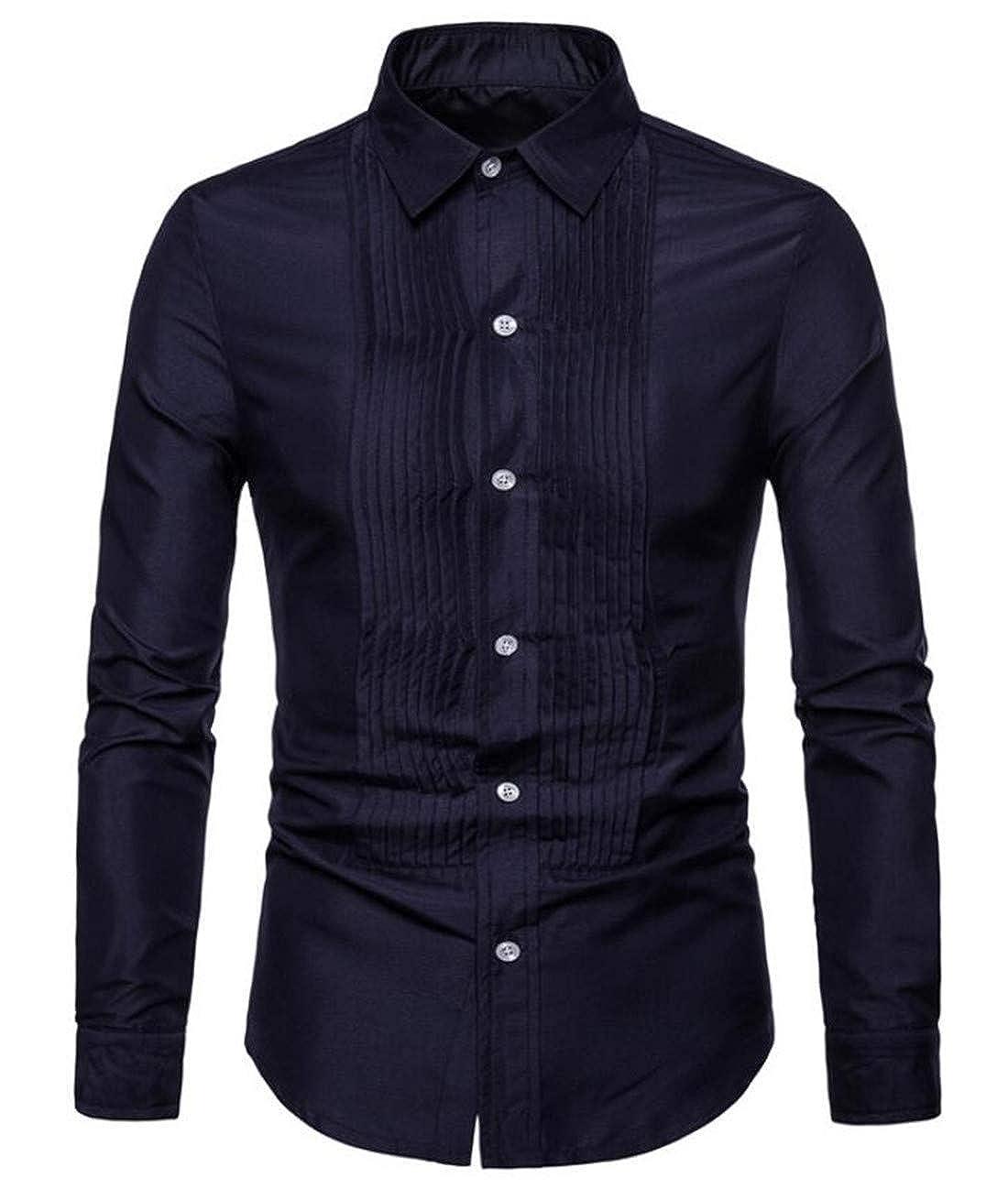Nanquan Men Slim Fit Business Casual Cotton Long Sleeves Dress Shirt