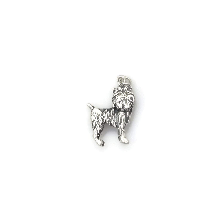 Jewelry Adviser Charms Silver Enamel Brussel Griffon Charm