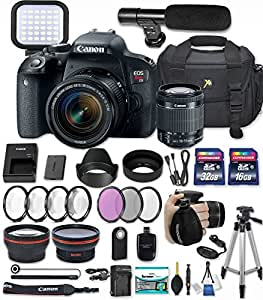 Canon EOS Rebel T7i 24.2 MP DSLR Camera with Canon EF-S 18-55mm f/4-5.6 IS STM Lens + 32GB & 16GB Memory Cards + LED Video Light + Shotgun Condenser Microphone + Premium Accessory Bundle