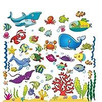 Adhesivos para niños bajo el mar, calcomanías de peces en la pared para el dormitorio, el baño y la ventana de los niños pequeños, la guardería del bebé y las aulas infantiles, pelajes y palitos para el océano que se aferran, vinilo removible