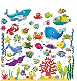 small bathroom paint ideas Under The Sea Stickers for Kids, Fish Wall Decals for Toddlers' Bedroom, Bathroom, and Window, Baby's Nursery, and Children's Classroom, Peel and Stick Ocean Decorations That Clings, Removable Vinyl