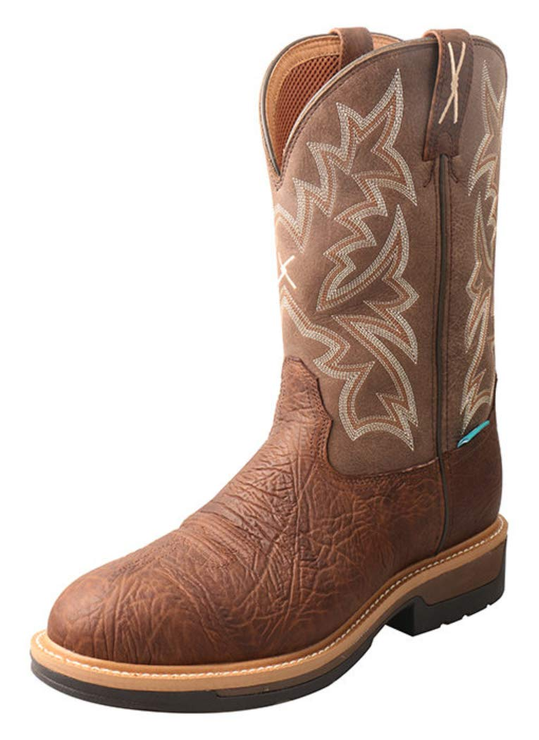 Twisted X Men's Lite Cowboy Western Work Boot Composite Toe Brown 10 D