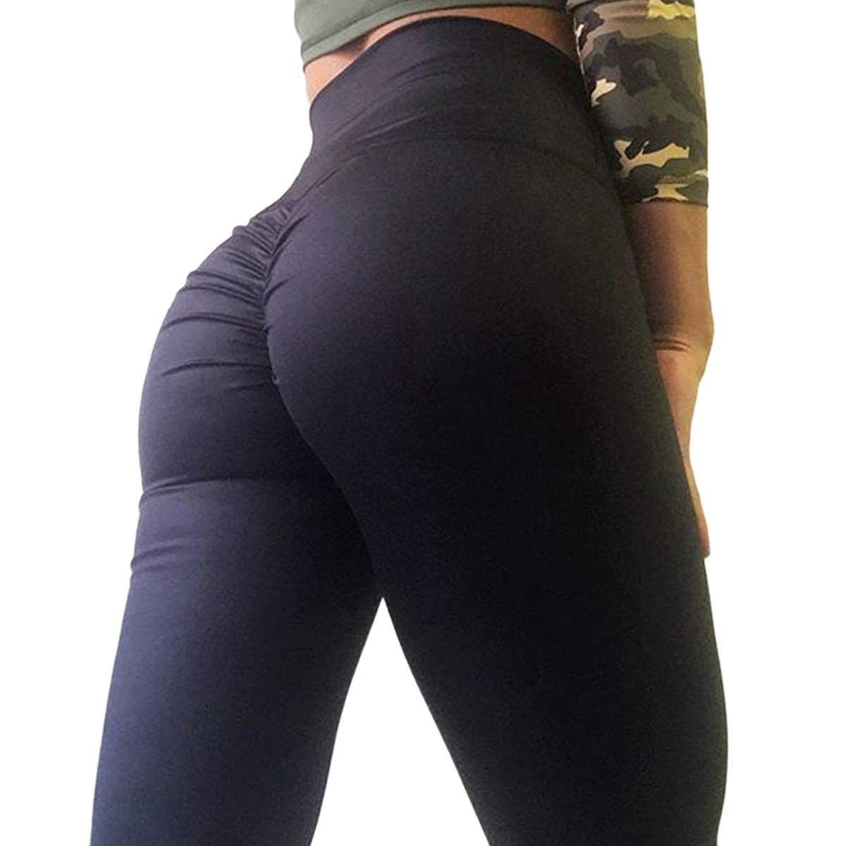 CROSS1946 Women's High Waist Back Ruched Legging Butt Lift Yoga Pants Hip Push up Workout Stretch Capris S