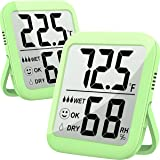 Humidity Gauge, 2 Pack Max Indoor Thermometer Hygrometer Humidity Meter Temperature and Humidity Monitor with Dual Sensors fo