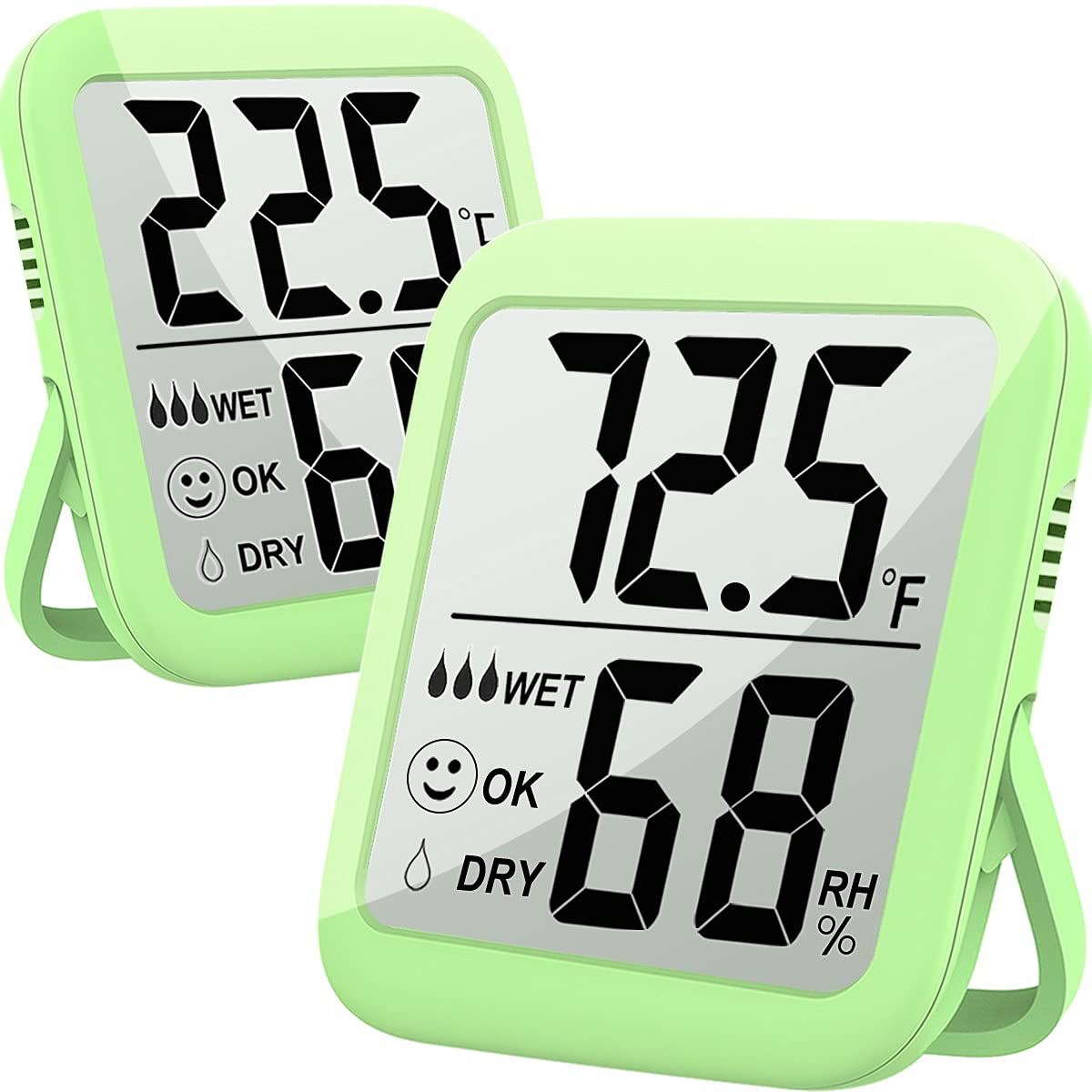 Humidity Gauge, 2 Pack Max Indoor Thermometer Hygrometer Humidity Meter Temperature and Humidity Monitor with Dual Sensors for Bed Room, Pet Reptile, Plant, Greenhouse, Basement, Humidor, Guitar