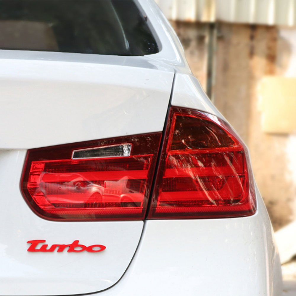 Dsycar 1 par de pegatinas 3D de metal con el logotipo de TURBO para coche + 4 piezas de estilo moleteado con tapas de válvula de núcleo de plástico para ...