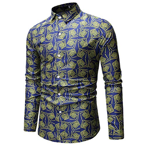 - NUWFOR Men's Long Sleeve Printed Painting Large Size Casual Top Blouse Shirts(Blue,XL US Chest:48.0