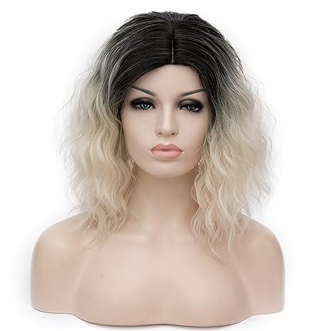 WPQES corto rizado mezclado dos colores Split peluca sintética, peluca de Halloween, peluca del