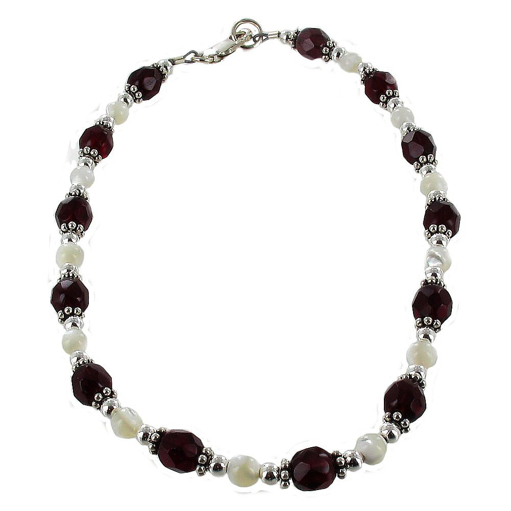 Timeless-Treasures Womens Red Czech Fire Polished Glass, Mother of Pearl & Sterling Silver Beaded Anklet with Daisies - 12''