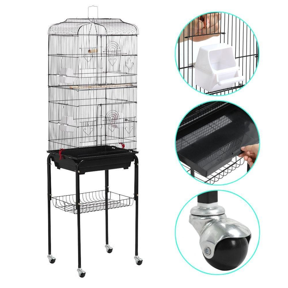 go2buy 2 in 1 Bird Cage Parrot Finch Carrier Cage with Stand and Wheels, 18.7 x 14.6 x 61.6 Inches