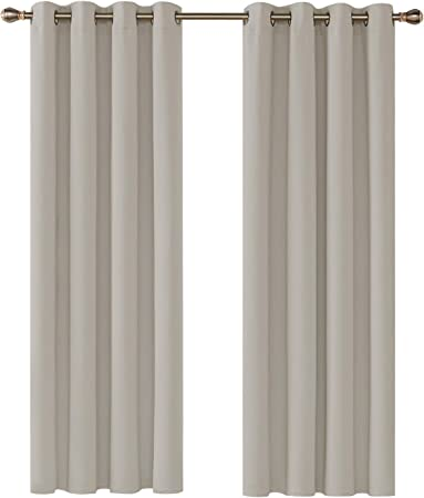 Shang gu Rideaux Occultants Lot de 2 Isolant Thermique Doublure Double Face Panneaux Curtains avec Oeillets pour Petite Fentre Chambre Salle Manger Salon Rideau 135x240cm,Gris fonc/é