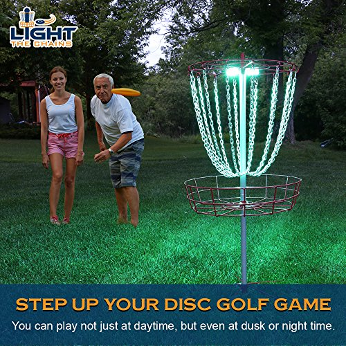 Light The Chains: Disc Golf Basket Lights - Vivid Multi Color LED Water Proof Lights with Remote Control and Storage Bag - Perfect for Putting and Driving Practice - Set of 2 (basket not included)