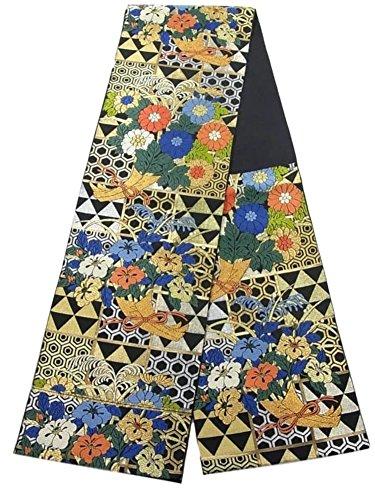浅い共和国ヒゲ川島織物 リサイクル 本袋帯 市松に花束