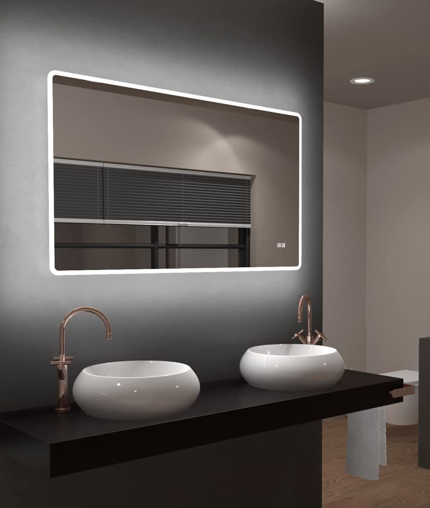 45 x 70 cm Talos Sun Specchio da Bagno Bianco Caldo