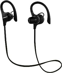 Bluetooth Headphones, Lobkin Wireless Sports Earphones w/Mic IPX5 Waterproof HD Stereo Sweatproof in Ear Earbuds for Gym Running Workout 8 Hour Battery Noise Cancelling Headsets (Black)