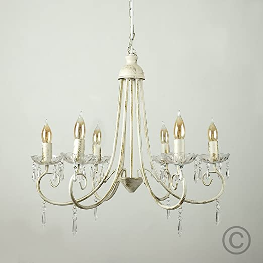 Large modern distressed white shabby chic 6 way ceiling light large modern distressed white shabby chic 6 way ceiling light chandelier aloadofball Gallery
