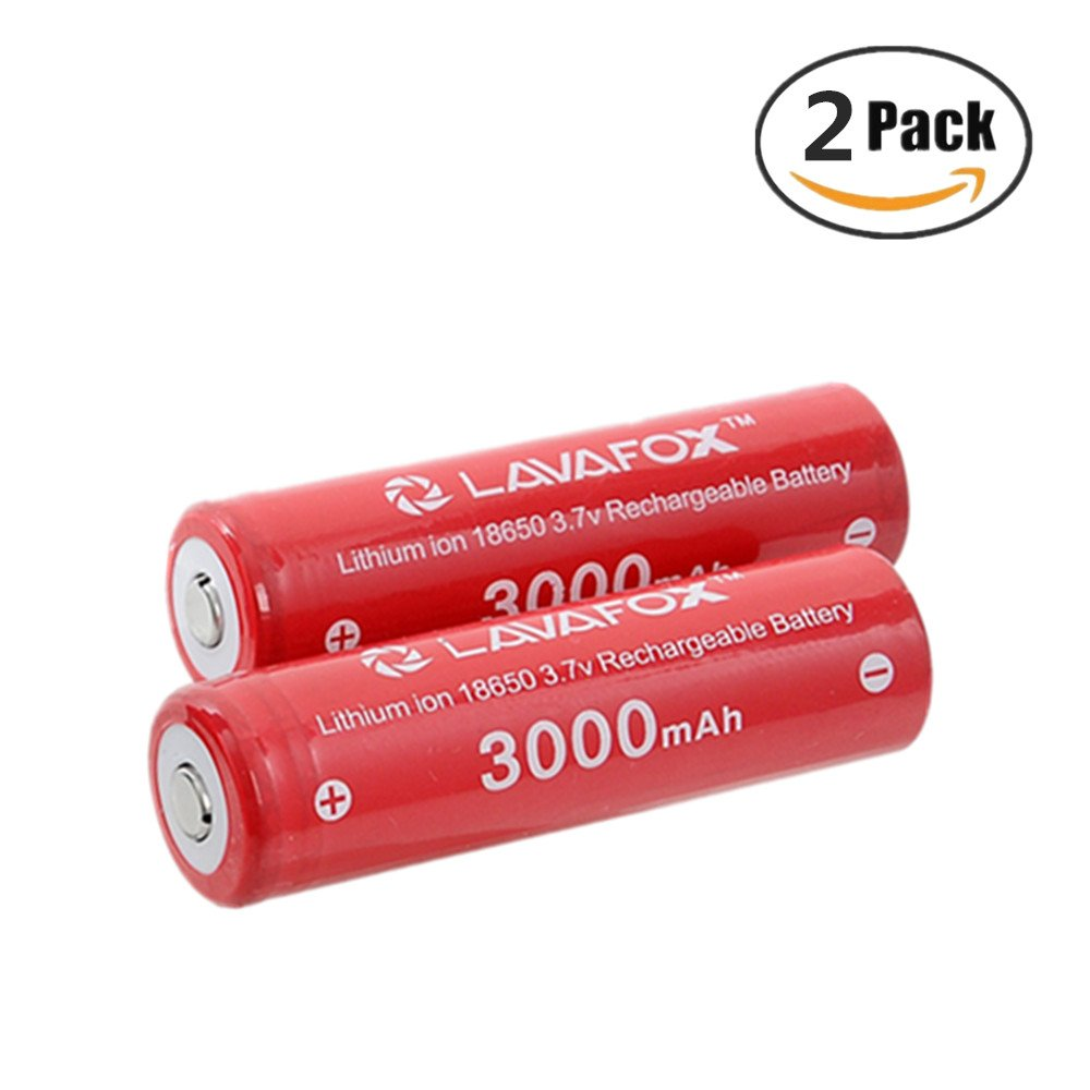 18650 Battery, LAVAFOX 3000mAh 3.7v Li-ion 18650 Rechargeable Batteries for Headlamps, Flashlights, etc. (2 Pack)