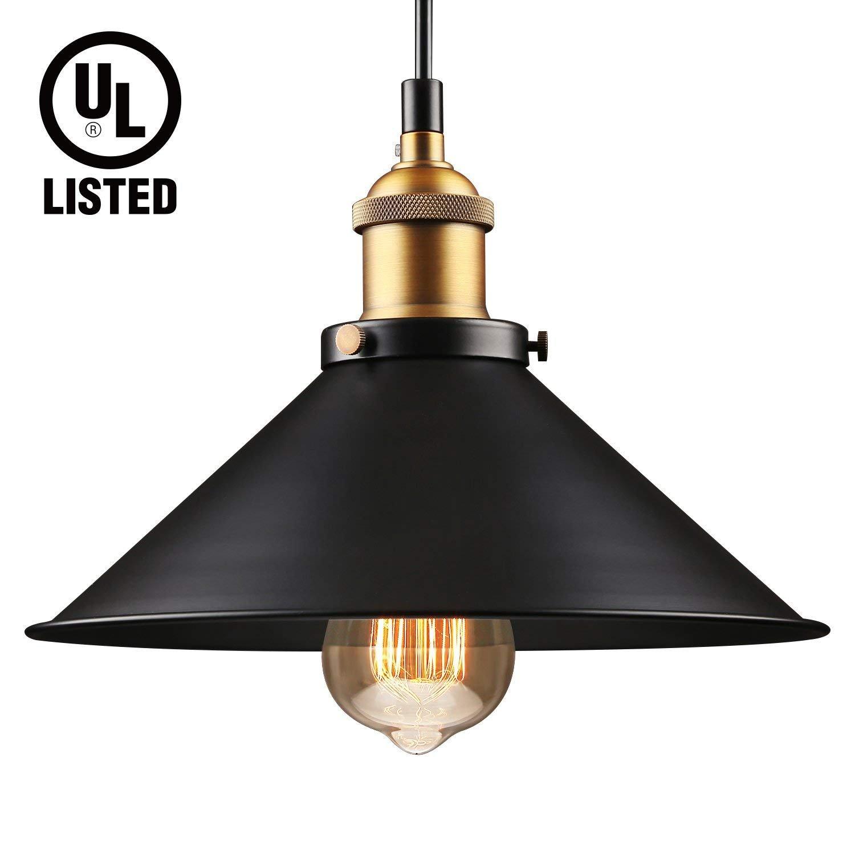 LEONLITE Industrial Hanging Pendant Light, UL-listed, Rustic Farmhouse Style, Matte Black Metal Shade, Retro Vintage Hanging Light, for Dining Room, Bars, Warehouse, E26 Base