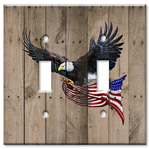 (Art Plates brand - Double Gang Toggle Switch/Wall Plate - Eagle with Flag )
