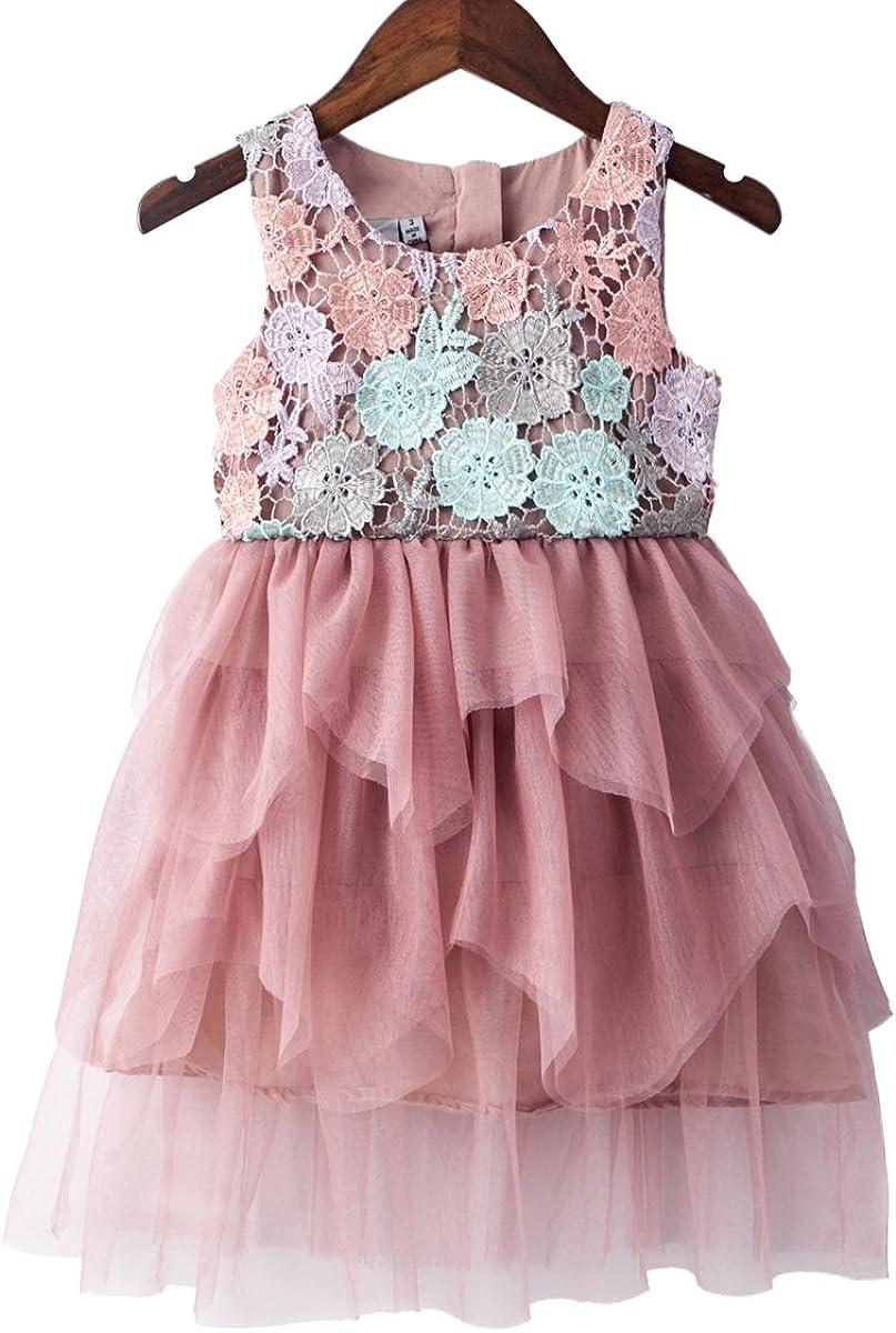 Girls Cute Summer Party Dress Duckling Pink /& Blue Cotton Dress  Age 2 3 4 5 6