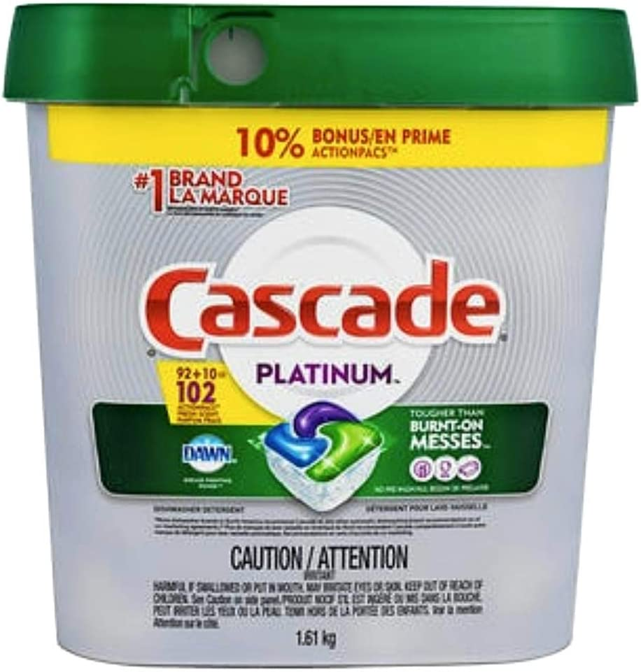 Cascade Platinum ActionPacs Dishwasher Detergent with Dawn, Fresh Scent - 102 Count