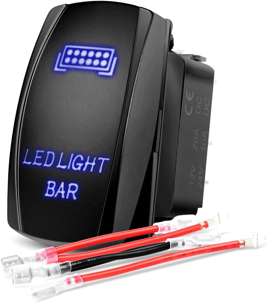Nilight 90001B blue Bar Rocker 5Pin Laser On/Off LED Light 20A/12V 10A/24V Switch Jumper Wires Set for Jeep Boat Trucks,2 Years Warranty