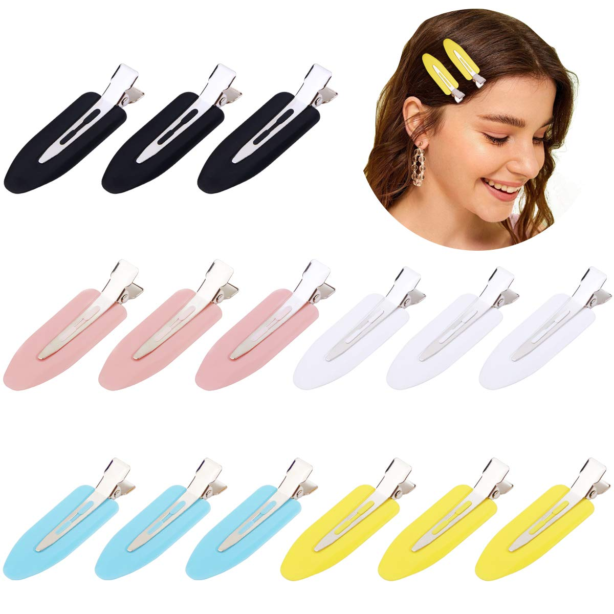 15 Pieces 2.4 inch No Bend Hair Clips, No Crease Hair Clips, Styling Clips for Hairstyle, Curl Pin Clips for Makeup, Bangs Hair Clips for Women and Girls