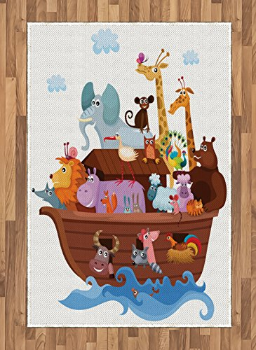 Noah's Ark Area Rug by Lunarable, Happy Animals in Noah's Ark Clipart Religion Theme Waves Clouds Artwork Print, Flat Woven Accent Rug for Living Room Bedroom Dining Room, 4 x 6 FT, Multicolor (Noahs Ark Kids Rug)