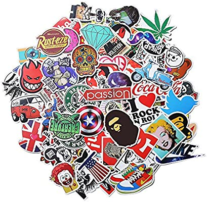 for Laptop Skateboard Stickers - 2 Stickers Pack Cool Luggage Motorcycle 100 Pcs Vinyl Waterproof Stickers Car Bicycle Decal Graffiti Patches