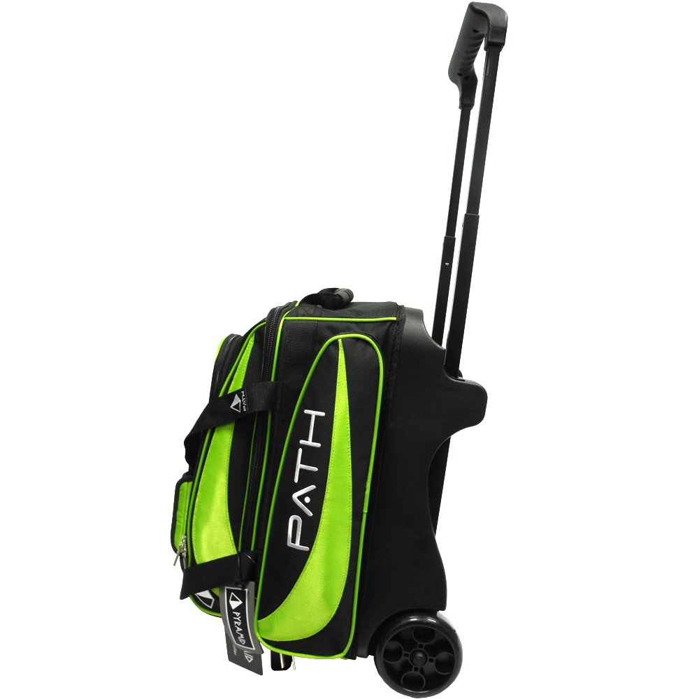 Pyramid Path Premium Deluxe Double Roller Bowling Bag (Black/Lime Green)