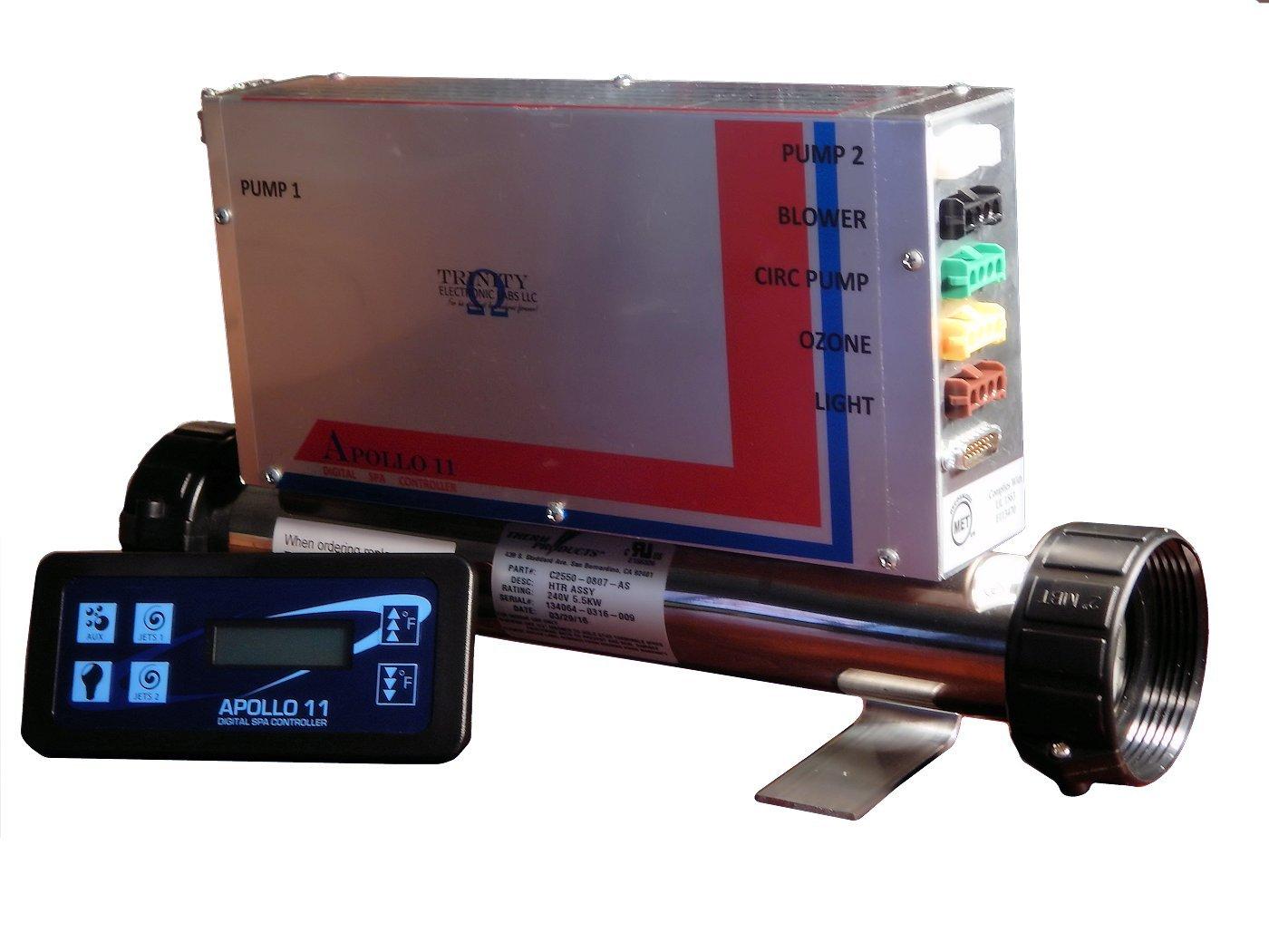 Apollo 11 Digital Spa Controller /Spa Pack / Spa Control Syrtem 2 Pumps, Blower, Circ Pump, Ozone, Fiber Optic Light. 12V Light with Heater by Apollo