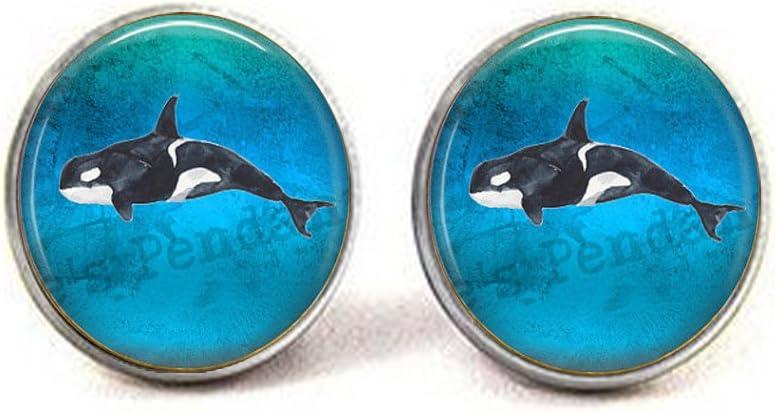 Nijiahx Orca Killer Whale Boutons de manchette Motif orque