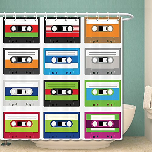 90S Decorations Shower Curtain Set By Collection Of Retro Plastic Audio Cassettes Tapes Old Technology Entertainment Theme Bathroom Accessories 69W X 70L Inches Green Blue