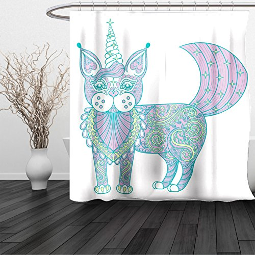 HAIXIA Shower Curtain Unicorn Cat Magic Cat with Artistic Ethnic Ornate Patterns Boho Tribal Motifs Pink Teal Pale - Vercase Glasses